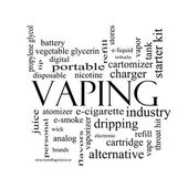 Vaping Word Cloud Concept in black and white — Stok fotoğraf