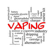 Vaping Word Cloud Concept in red caps — Stok fotoğraf
