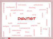 Dentist Word Cloud Concept on a Whiteboard — Stock Photo