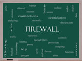 Firewall Word Cloud Concept on a Blackboard — Stock Photo