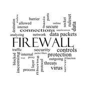 Conceito de nuvem de palavra de firewall em preto e branco — Fotografia Stock