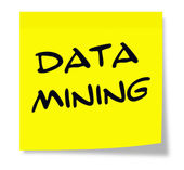 Data Mining on Yellow Sticky Note — Stockfoto