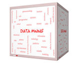 Data Mining Word Cloud Concept on a 3D cube Whiteboard — Stock Photo