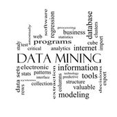 Data Mining Word Cloud Concept in black and white — Stock Photo