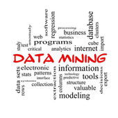 Data Mining Word Cloud Concept in red caps — Stock Photo