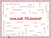 Online Training Word Cloud Concept on a Whiteboard — Stock Photo