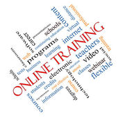 Online Training Word Cloud Concept Angled — Stock Photo