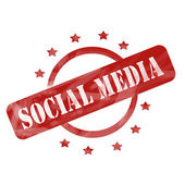 Red Weathered Social Media Stamp Circle and Stars design — Stock Photo