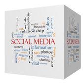 Social Media 3D cube Word Cloud Concept — Stock Photo