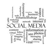 Social Media Word Cloud Concept in black and white — Stock Photo