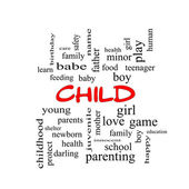 Child Word Cloud Concept in red caps — Foto Stock