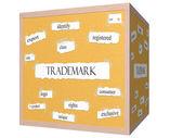 Trademark 3D cube Corkboard Word Concept — Stock Photo
