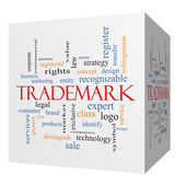 Trademark 3D cube Word Cloud Concept — Stock Photo