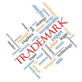 Trademark Word Cloud Concept Angled — Stock Photo