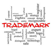 Trademark Word Cloud Concept in red caps — Stock Photo