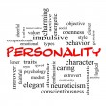 Постер, плакат: Personality Word Cloud Concept in red caps