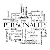 Personality Word Cloud Concept in black and white — Stock Photo