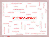 Rebranding Word Cloud Concept on a Whiteboard — Stock Photo