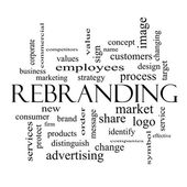 Rebranding Word Cloud Concept in black and white — Stock Photo