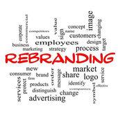 Rebranding Word Cloud Concept in red caps — Stock Photo