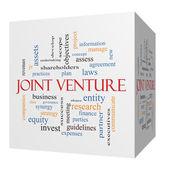 Joint Venture 3D cube Word Cloud Concept — Stock Photo