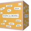 Texting and Driving 3D Corkboard Word Concept — Stock Photo #46064311