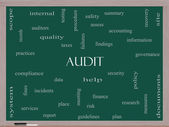 Audit Word Cloud Concept on a Blackboard — Photo