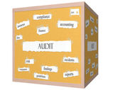 Audit 3D cube Corkboard Word Concept — Stock Photo