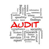 Audit Word Cloud Concept in red caps — Photo