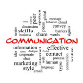 Communication Word Cloud Concept in red caps — Stock Photo