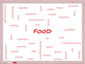 Food Word Cloud Concept on a Whiteboard — Stock Photo
