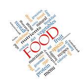 Food Word Cloud Concept Angled — Photo