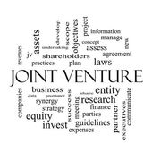 Joint Venture Word Cloud Concept in black and white — Stock Photo
