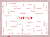 Patient Word Cloud Concept on a Whiteboard — Stock Photo