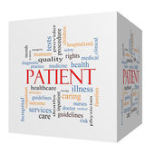 Patient 3D cube Word Cloud Concept — Stock Photo