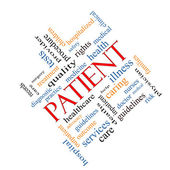 Patient Word Cloud Concept Angled — Stock Photo
