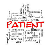 Patient Word Cloud Concept in red caps — Stock Photo