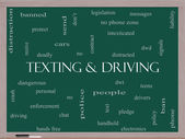 Texting and Driving Word Cloud Concept on a Blackboard — Stock Photo