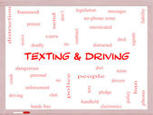 Texting and Driving Word Cloud Concept on a Whiteboard — Stock Photo