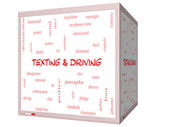 Texting and Driving Word Cloud Concept on a 3D Whiteboard — Stock Photo