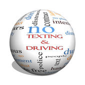 Texting and Driving 3D sphere Word Cloud Concept — Stock Photo