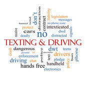 Texting and Driving Word Cloud Concept — Stock Photo