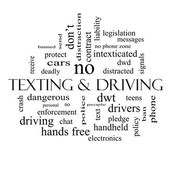 Texting and Driving Word Cloud Concept in black and white — Stock Photo