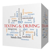 Texting and Driving 3D cube Word Cloud Concept — Stock Photo