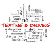 Texting and Driving Word Cloud Concept in red caps — Stock Photo
