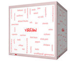Vegan Word Cloud Concept on a 3D cube Whiteboard — Stock Photo