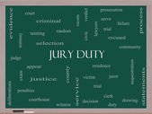 Jury Duty Word Cloud Concept on a Blackboard — Stock Photo