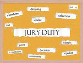 Jury Duty Corkboard Word Concept — Stock Photo