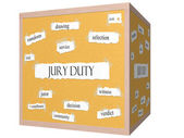 Jury Duty 3D cube Corkboard Word Concept — Stock Photo