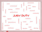 Jury Duty Word Cloud Concept on a Whiteboard — Stock Photo